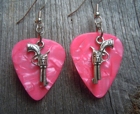 Revolvers with Stars Guitar Pick Earrings