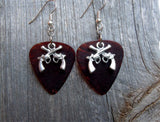 Small Crossed Guns Charm Guitar Pick Earrings - Pick Your Color