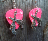 Large Crossed Guns Charm Guitar Pick Earrings - Pick Your Color