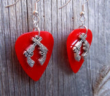 Crossed Ornate Guns Charms Guitar Pick Earrings - Pick Your Color