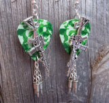 Machine Gun Guitar Pick Earrings with Bullet Dangles - Pick Your Color
