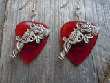 Revolvers with Roses Charm Guitar Pick Earrings - Pick Your Color