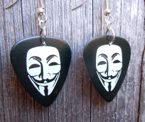 Guy Fawkes Mask Guitar Pick Earrings