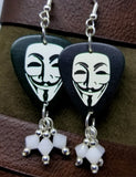 Guy Fawkes Mask Guitar Pick Earrings with White Swarovski Crystal Dangles