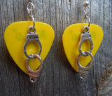Handcuff Charm Guitar Pick Earrings - Pick Your Color