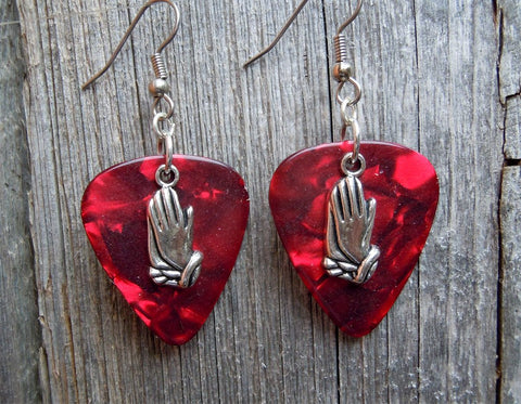Prayer Hands Charm Guitar Pick Earrings - Pick Your Color