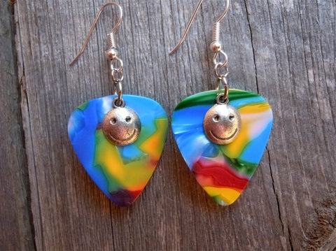 Happy Face Charm Guitar Pick Earrings - Pick Your Color