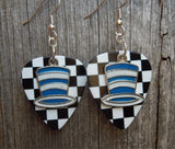 Blue and White Striped Hat Charms Guitar Pick Earrings - Pick Your Color