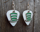 Green and White Striped Hat Charms Guitar Pick Earrings - Pick Your Color