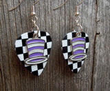 Purple and White Striped Hat Charms Guitar Pick Earrings - Pick Your Color