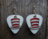Red and White Striped Hat Charms Guitar Pick Earrings - Pick Your Color
