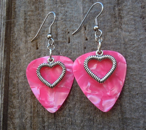 Heart Outline Charm Guitar Pick Earrings - Pick Your Color