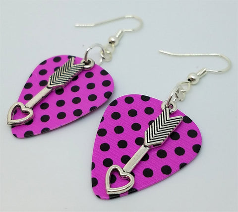 Cupid's Arrow Charm Guitar Pick Earrings - Pick Your Color