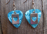 Heart Cut Out Charm Guitar Pick Earrings - Pick Your Color