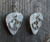 Double Heart Charm Guitar Pick Earrings - Pick Your Color
