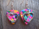 Large Heart Charm Guitar Pick Earrings - Pick Your Color