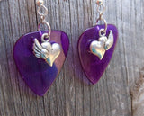 Heart with Single Wing Charm Guitar Pick Earrings - Pick Your Color