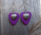 Heart Charm Guitar Pick Earrings - Pick Your Color