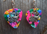 I Love to Cheer Charms Guitar Pick Earrings - Pick Your Color