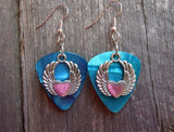 Heart with Double Arched Wings Guitar Pick Earrings - Pick Your Color