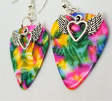 Winged Heart Charms Guitar Pick Earrings - Pick Your Color