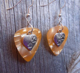 Heart with Paw Prints Charm Guitar Pick Earrings - Pick Your Color