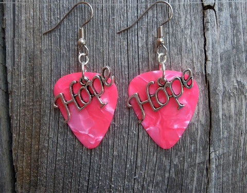 Hope Text Charm Guitar Pick Earrings - Pick Your Color