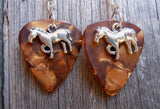 Horse Charm Guitar Pick Earrings - Pick Your Color