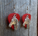 Large Horse Head Charm Guitar Pick Earrings - Pick Your Color