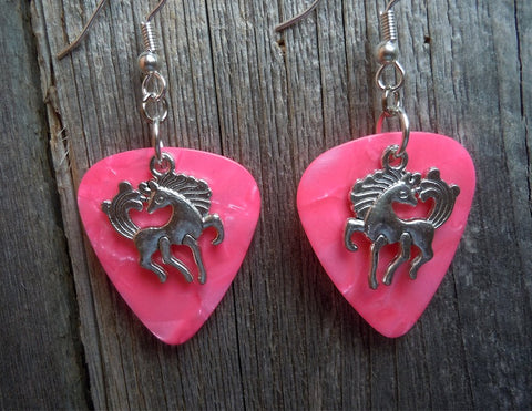 Cartoonish Horse Charm Guitar Pick Earrings - Pick Your Color