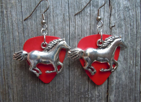 Horse Running Charm Guitar Pick Earrings - Pick Your Color