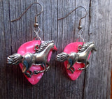 Large Horse Running Charm Guitar Pick Earrings - Pick Your Color