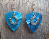 Horseshoe Charm Guitar Pick Earrings - Pick Your Color