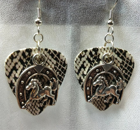 Horse and Horseshoe Charm Guitar Pick Earrings - Pick Your Color