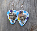 Hot Air Balloon Charm Guitar Pick Earrings - Pick Your Color