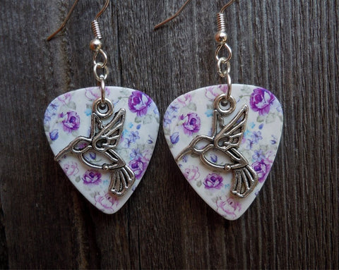Hummingbird Charm Guitar Pick Earrings - Pick Your Color
