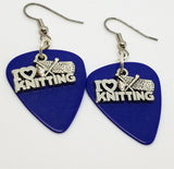 I Heart Knitting Charm Guitar Pick Earrings - Pick Your Color