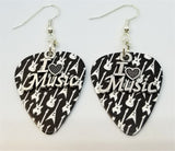 I Heart Music Charm Guitar Pick Earrings - Pick Your Color
