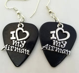 I Heart My Airman Charm Guitar Pick Earrings - Pick Your Color
