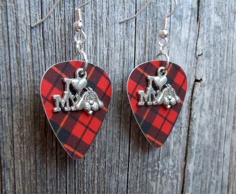 I Heart My Dog Charm Guitar Pick Earrings - Pick Your Color