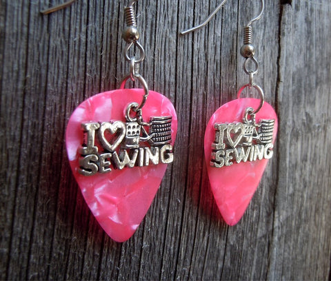 I Heart Sewing Charm Guitar Pick Earrings - Pick Your Color
