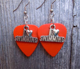 I Heart Swimming Charm Guitar Pick Earrings - Pick Your Color
