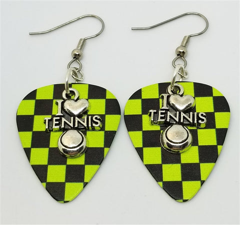 I Heart Tennis Charm Guitar Pick Earrings - Pick Your Color