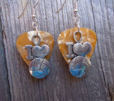 I Heart Volleyball Charm Guitar Pick Earrings - Pick Your Color
