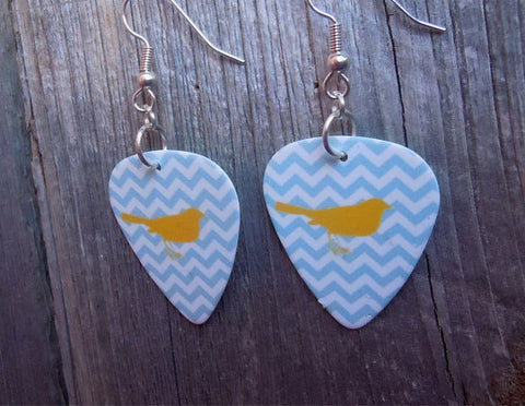 Gray Chevron Guitar Pick Earrings with Yellow Birds