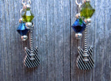 Iron Maiden The Final Frontier Guitar Pick Earrings with Charm and Swarovski Crystal Dangles