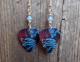Iron Maiden Guitar Pick Earrings with Air Opal Swarovski Crystals