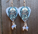 Iron Maiden Eddie Logo Guitar Pick Earrings with Swarovski Crystal Dangles