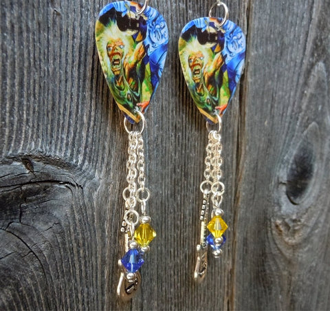 Iron Maiden No Prayer for the Dying Album Guitar Pick Earrings with Dangles