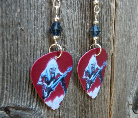 Iron Maiden Fear of the Dark Live Album Cover Guitar Pick Earrings with Blue Crystals